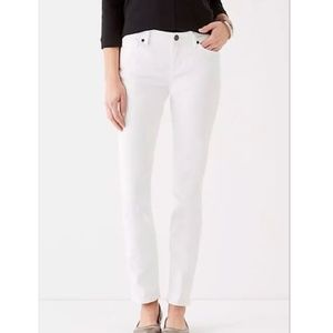J.jill. authentic fit white slim ankle jeans